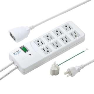 雷ガードタップ 一括集中スイッチ&8個口連動手元スイッチ・ブレーカー付き(3ピン式・8個口・2.5m) TAP-SP308 ホワイト [2.5m]