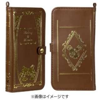 スマートフォン用[幅 80mm] ディズニーキャラクター Old Book Case Lサイズ ミッキー&ミニー/ブラウン
