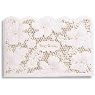 [グリーティングカード] BDフラワーメッシュカード ホワイト B36-035