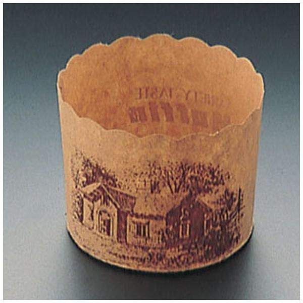 天満紙器 マフィンカップハウス柄茶 M-404100枚入 WMH20