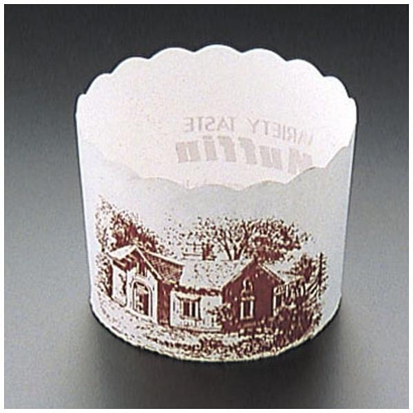 天満紙器 マフィンカップハウス柄白 M-405100枚入 WMH21