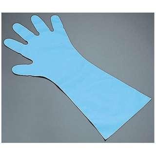 エンボス手袋 五本絞り ロング#50 ブルー M (1袋50枚入) <STB7902>