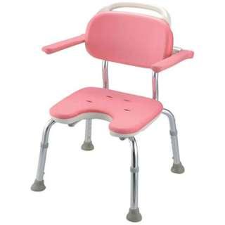 やわらかシャワーチェア ピンク U型肘掛付コンパクト <VSY0601>