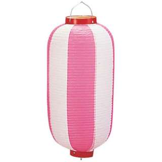 ビニール提灯長型 《9号》 ピンク/白 b2 <YTY0193X>
