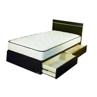 【フレーム&マットレス】収納付き フィールII(シングルサイズ) + 5.5インチハードポケットセット【日本製】