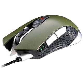 GR-WOMG-530 ゲーミングマウス 530M アーミーグリーン [光学式 /6ボタン /USB /有線]