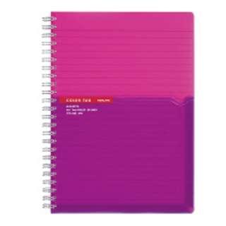 [ノート] ツインリングノート カラータグ Bi-COLOR (普通横罫・A5・90枚) ピンク CTス-C30P