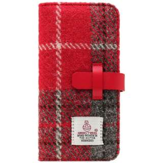 iPhone 7 Plus用 手帳型 Harris Tweed Diary レッド×グレー SLG Design SD8152i7P