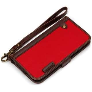 iPhone 7用 手帳型 フリップカバー ナイロン レッド PG-16MFP10RD