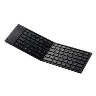 【スマホ/タブレット対応】ワイヤレスキーボード[Bluetooth3.0・Android/iOS/Win] タブレットスタンド付き (日本語79キー・ブラック) TK-FLP01BK