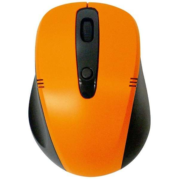 ワイヤレス光学式マウス[2.4GHz USB・Mac/Win] (4ボタン・ブラック×オレンジ) 静音タイプ BCM318GBO