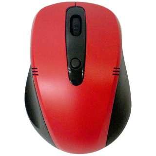 ワイヤレス光学式マウス[2.4GHz USB・Mac/Win] (4ボタン・ブラック×レッド) 静音タイプ BCM318GBR