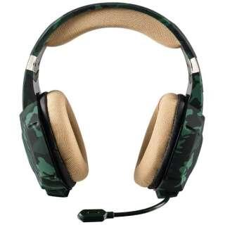 有線ゲーミングヘッドセット [φ3.5mmミニプラグ] GXT 322C Gaming Headset - green camouflage 20865
