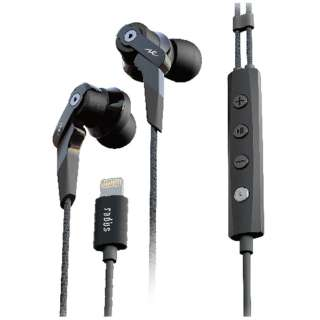 11e0175588d5e4 iPad/iPhone/canal type Earphone Inner ear headphones (black) HP-NHL21K 1.2m  cord for iPod [Lightning]