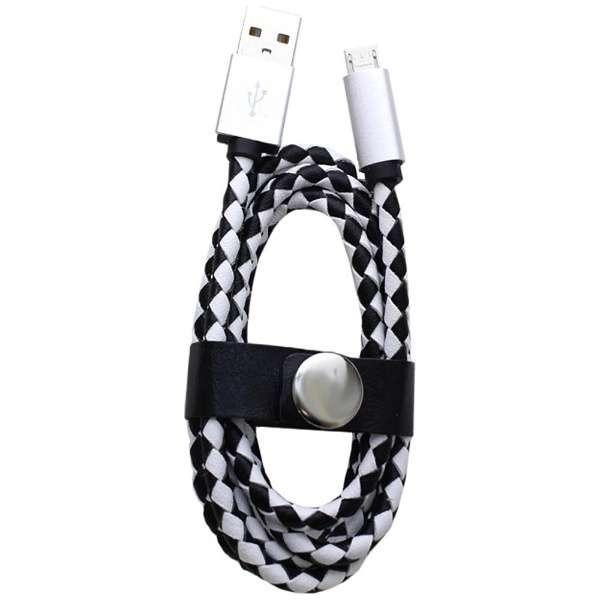[micro USB]USBケーブル 充電・転送 (1m・チェック/ホワイト)IQ-F-M-CH-WH [1.0m]