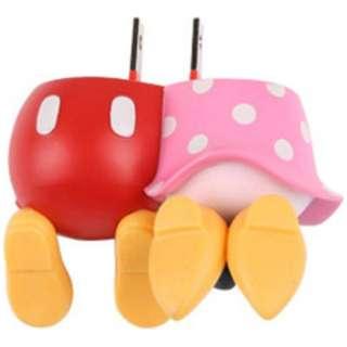 スマホ用USB充電コンセントアダプタ 2A (2ポート)ディズニー おしりシリーズ ミッキーマウス&ミニーマウス
