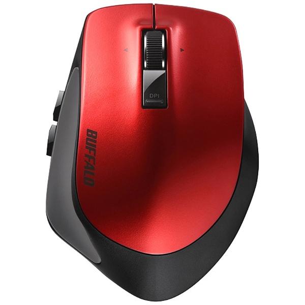 バッファロー Bluetoothマウス 静音 Premium Fitマウス ブルーLED式/5ボタン 静音タイプ レッド BSMBB500LRD