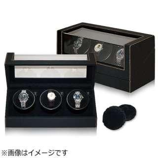 3本用黒合皮ウォッチワインダー IG-ZERO 110-1