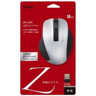 ワイヤレスBlueLEDマウス [USB 2.4GHz・Win/Mac] Zシリーズ (Mサイズ・5ボタン) シルバー MUS-RKF129SL
