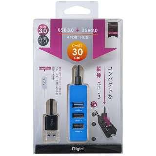 UH-3064 USBハブ ブルー [USB3.0対応 /4ポート /バスパワー]