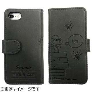 cbb9054eba iPhone 7用 手帳型 ピーナッツ フリップカバー フライングエース SNG-172C