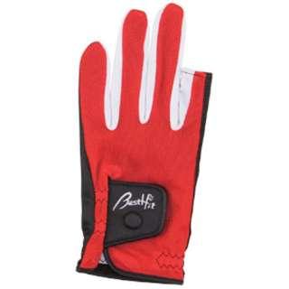 グラウンドゴルフ用 ドライメッシュ手袋 指切タイプ(SMサイズ/レッド) BH8026