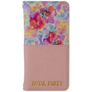 iPhone 7用 ROYAL PARTY ハーフパステルフラワー 手帳型ケース ピンク 2016IP-72466