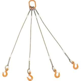TRUSCO 4本吊りWスリング フック付き 9mmX1m GRE-4P-9S1