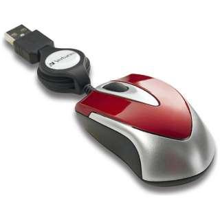 有線光学式マウス[USB] 巻き取り式 (3ボタン・レッド) MUSTORV3 【ビックカメラグループオリジナル】
