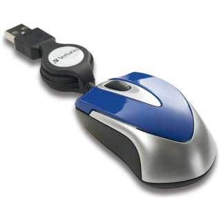 有線光学式マウス[USB] 巻き取り式 (3ボタン・ブルー) MUSTOBV3