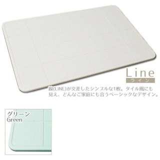 珪藻土バスマット 足乾くん Line(40×60×0.9cm/グリーン)