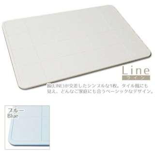 珪藻土バスマット 足乾くん Line(40×60×0.9cm/ブルー)
