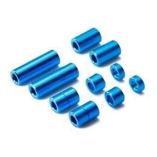 【ミニ四駆】アルミスペーサーセット(12/6.7/6/3/1.5mm各2個)(ブルー)【ミニ四駆特別企画】
