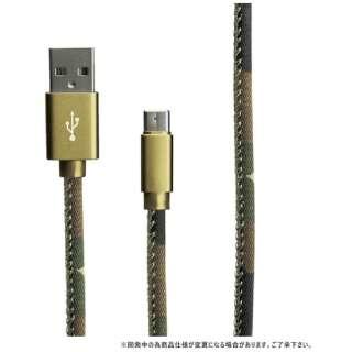 [Type-C]ケーブル 充電・転送 1.2m カモフラージュ グリーン LEPLUS LP-TC120FAGR [1.2m]