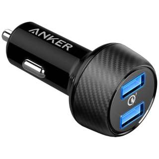 [USB給電]車載用 - USB充電器 3A (2ポート・ブラック)A2228011
