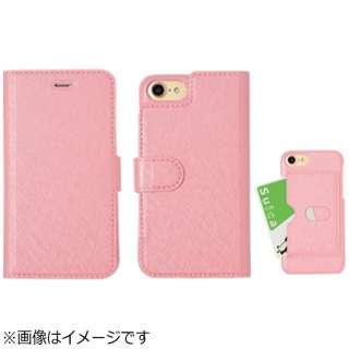 iPhone 7用 手帳型 シャイニー 2way case コーラルピンク SSTW001