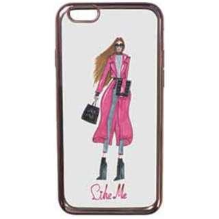 iPhone 7用 レザーケースLike Me METALLIC TPUケース pink leather coat 表向き LIKE705
