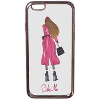 iPhone 7用 レザーケースLike Me METALLIC TPUケース pink leather coat 裏向き LIKE706