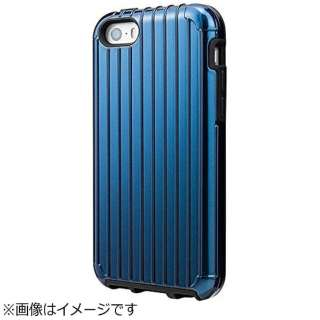 iPhone SE(第1世代)4インチ / 5c / 5s / 5用 COLORS Rib Hybrid Case ネイビー CHC416NV ポケット付