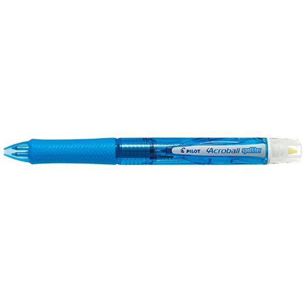 [多機能ペン]アクロボールスポットライター クリアソフトブルー 蛍光ペンイエロー色