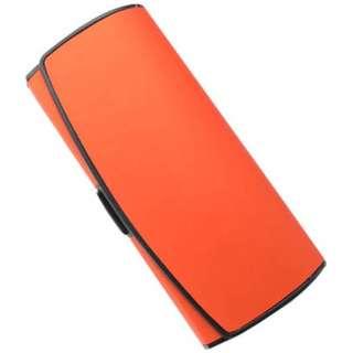 プラスチックレザーハード メガネケース(オレンジ)[M]2114-14