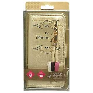 iPhone 7用 ウォレットタイプ手帳型ケース 縦ファスナー付 ゴールド BJWH-IP7GD