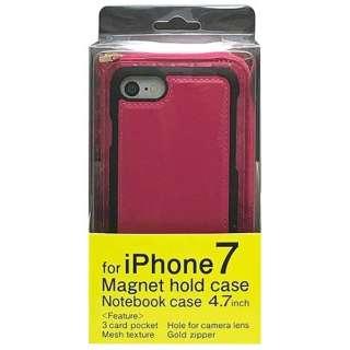 iPhone 7用 2WAY メッシュタイプ ファスナー収納型ケース ピンク MSZP-IP7PK