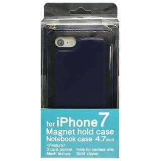 iPhone 7用 2WAY メッシュタイプ ファスナー収納型ケース ネイビー MSZP-IP7NV