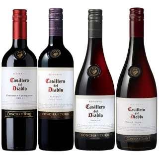 高コスパチリワイン!! カッシェロ・デル・ディアブロ 赤ワイン飲み比べセット (750ml/4本)【ワインセット】