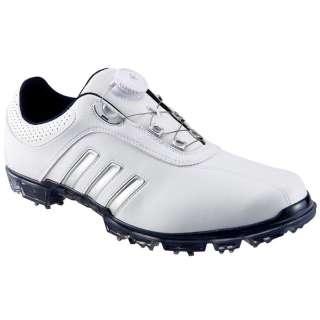 メンズ ゴルフシューズ ピュアメタル BOA((25.0cm/ホワイト×シルバーメタリック×カレジエイトネイビー)Q44617