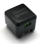 スマホ用USB充電コンセントアダプタ 3A ブラック CHE-315BK [1ポート /Quick Charge対応]