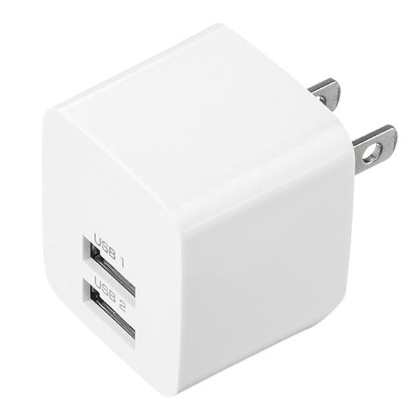 サンワサプライ USB充電器 2ポート 合計2.4A ホワイト ACA-IP44W 1個