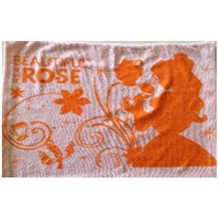 【まくらカバー】ローズ 小さめサイズ(33×52cm/オレンジ)