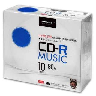 TYCR80YMP10SC 音楽用CD-R HIDISC ホワイト [10枚 /700MB /インクジェットプリンター対応]